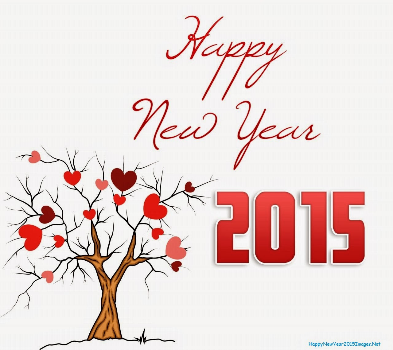 Happy New Year 2015 Hearts Tree